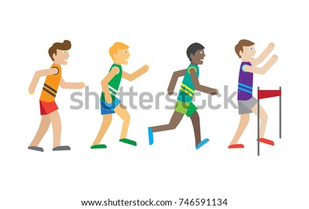 Running competition. Runners near the finish. Best athlete wins the race. Active men jogging sign symbol icons. Healthy way of life and sport concept. Young athlete joggers. Athletics.
