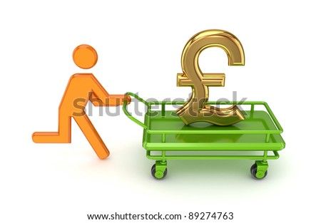 Running 3d small person and gold pound sterling sign on a pushcart. Isolated on white background.