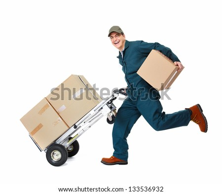 Running delivery postman with box. Isolated on white background. - stock photo