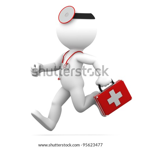 Running Doctor. Isolated on white background