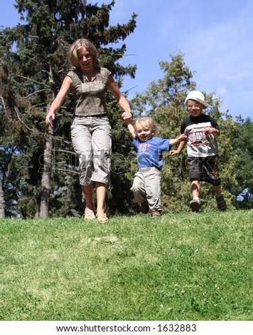 running family - stock photo