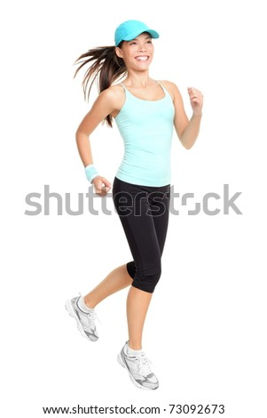 Running fitness woman isolated on white background. Mixed race Asian Caucasian female fitness model. - stock photo