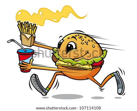 Running hamburger with fresh drink and fried potato for fast food design, such logo. Vector version also available in gallery
