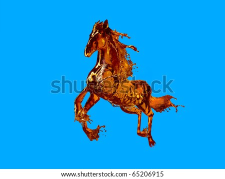 running horse made out of streamed liquid like cognac or whiskey brandy etc