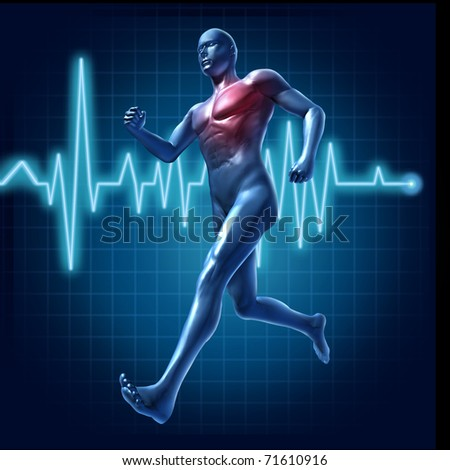 Running human with heart monitor symbol representing cardiovascular health and heart pulse rate