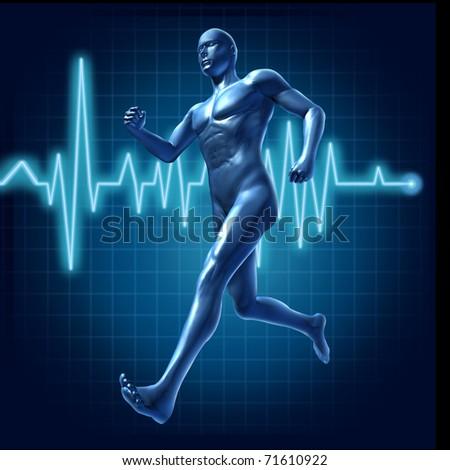 Running Human With Heart Monitor Symbol Representing ...