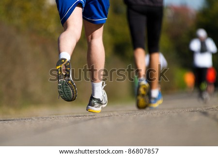 running in a marathon competition
