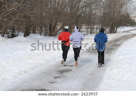 Running in the winter park