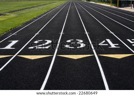 Running lanes on a track and field track.