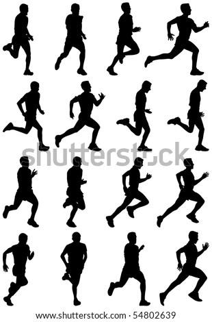 Running man black silhouettes, sixteen different postures