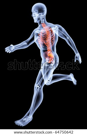 Running Man by X-rays. bone torso are highlighted in red.