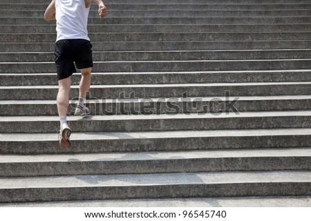 running man on stairs