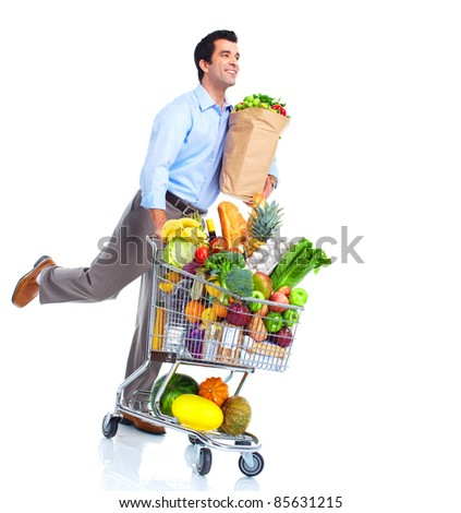 Running man with a shopping cart . Isolated over white background.