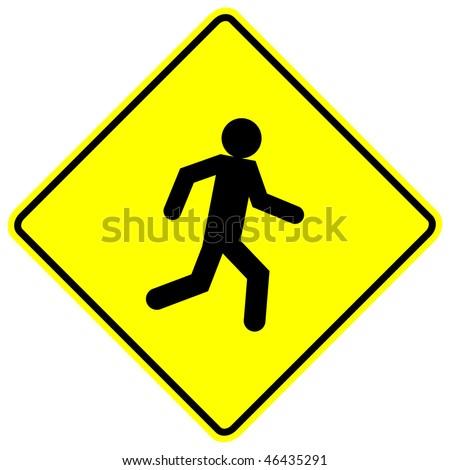 running or walking pedestrian sign