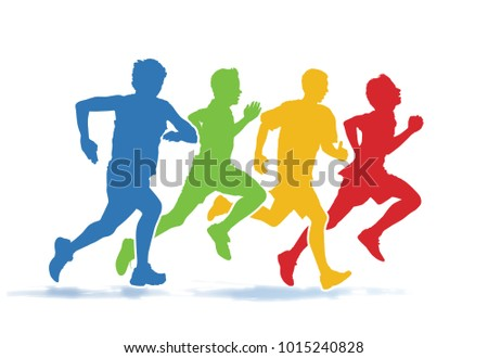 Running people. Colorful group of four young men running in the race on the white background.