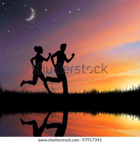 running people on the sky background