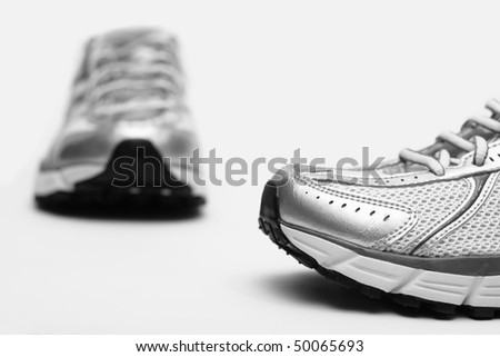 Running shoes closeup on white background