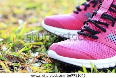 running shoes pink. blur and select focus background