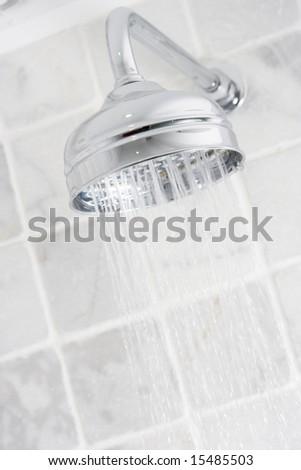 Running shower - stock photo