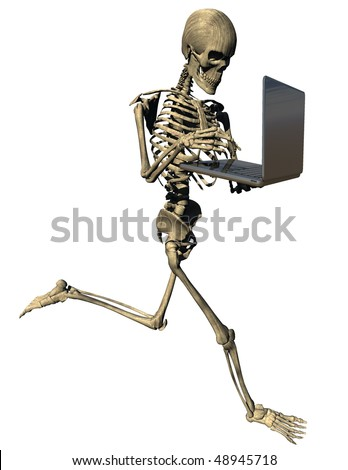 Running skeleton with laptop isolated on white