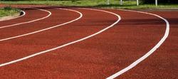 Running track in the stadium. Rubber coating.