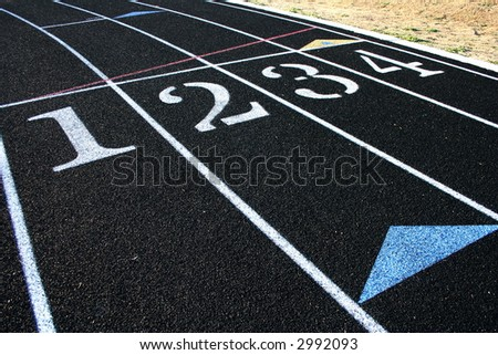 Running track lanes - stock photo