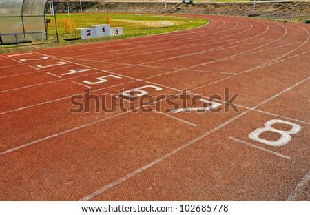 running track numbers on a stadium