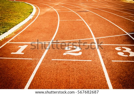 Running track start line texture with lane numbers