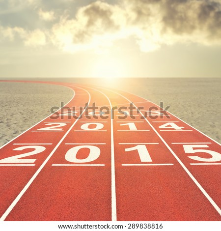 Running track with date in desert