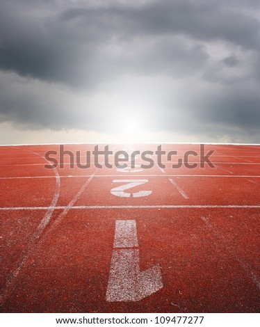 Running track with raincloud