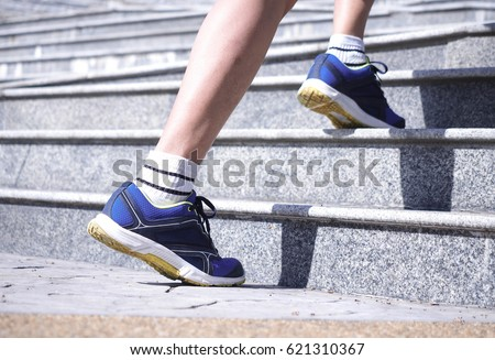 Running up stairs is a heart-pumping, calorie-torching workout, but the best exercise for one person isn't the best for another person.  #621310367