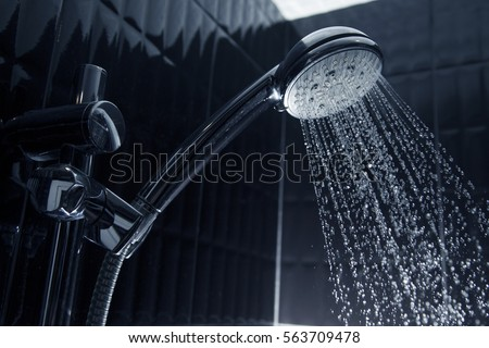 running water of shower faucet