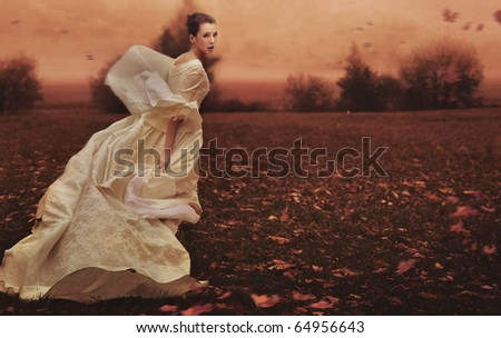 Running woman over nature background - stock photo