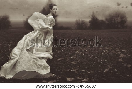 stock photo : Running woman over nature background in black and white