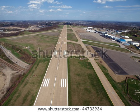 Runway approach at a small rural Ohio airport.