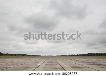 Runway of the old airport, Milovice, Czech Republic.
