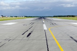 Runway takeoff airplane flight travel sky clouds