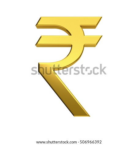 Rupee currency Golden Icon. 3D rendering illustration