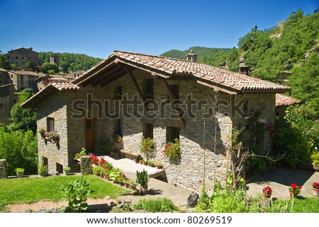 Rupit typical rural landscape of Catalonia, Spain