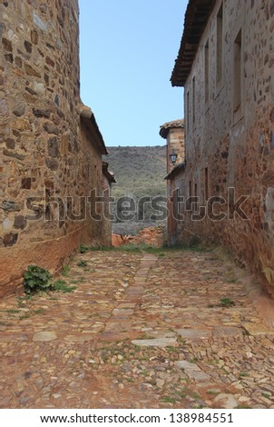 Rural alley in Castrillo de los Polvazares. Leon. Castile and Leon. Spain