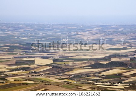Rural and agricultural landscape with fields in Sicily, Italy