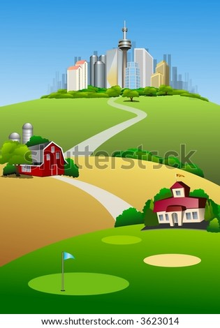 Rural and urban landscape illustration showing Golf course ,Old time barn and buildings