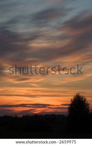 Rural area sunset colors