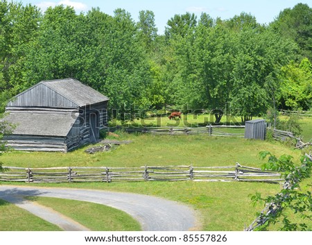 rural arial view of farmland with barn and horse