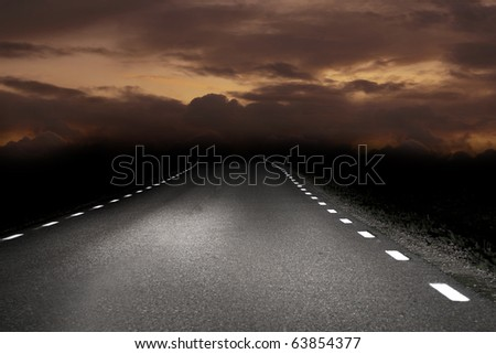 Rural asphalt road in the early morning