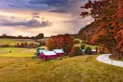Rural autumn Jenne Farm in Vermont, USA.
