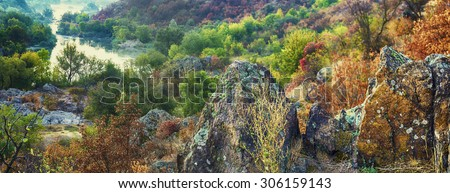 Rural autumn sunrise soft panorama landscape with river and  colorful trees, seasonal background