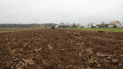 Rural brown plowed field with old wheeled tractor, farming work, soil cultivation on an autumn day on forest and village houses background, beautiful countryside agriculture landscape