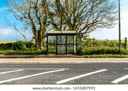 Rural bus stop, with nobody waiting #1435807991