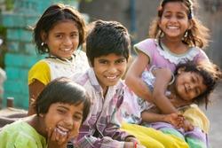 Rural children friends morning in sunlight Salunkwadi, Beed, Maharashtra, India